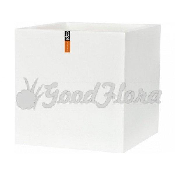 Кашпо CAPI Lux Куб 30x30x30 см Белый