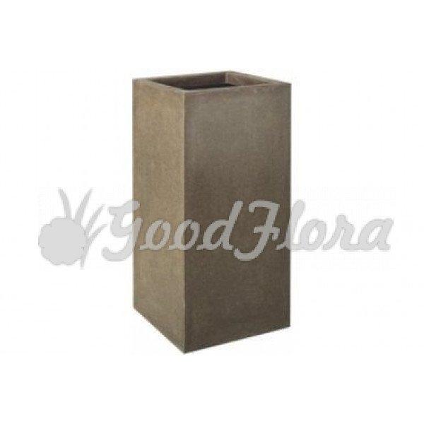 Кашпо CAPI Lux Прямоугольное высокое 25x25x67 см Коричневое