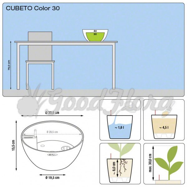 Кашпо Lechuza Cubeto Color 30 с системой автополива