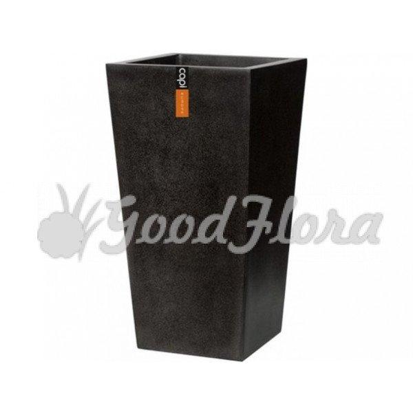 Кашпо CAPI Lux Конус квадратный 24x24x46 см Черный